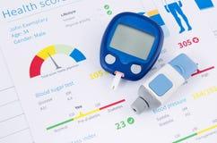 Glucometer e teste para o diabetes Fotografia de Stock Royalty Free