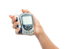 Glucometer for glucose level blood test Stock Photos