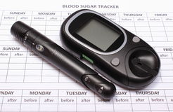 Glucometer and lancet device on empty medical forms for diabetes Royalty Free Stock Photos