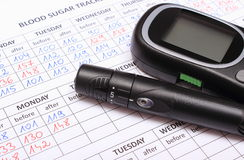 Glucometer and lancet device on medical forms for diabetes. Glucose meter and lancet device lying on medical forms for measurement sugar in blood, results of Royalty Free Stock Image