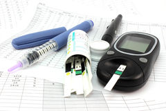 Glucometer and other instruments Royalty Free Stock Photography