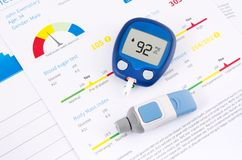 Glucometer and test for diabetes Royalty Free Stock Images