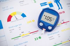 Glucometer and test for diabetes Stock Photography