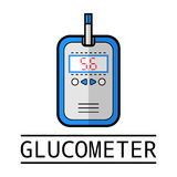 Glucometer, test strip. Label, flat icon, medical equipment. Diabetes Stock Image