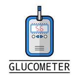 Glucometer, teststrook Etiket, vlak pictogram, medische apparatuur diabetes vector illustratie
