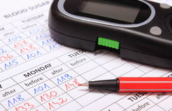 Glucometer und roter Stift auf medizinischen Formen für Diabetes Lizenzfreies Stockfoto