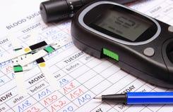 Glucometer und Zubehör für Maß auf medizinischen Formen für Diabetes Lizenzfreies Stockbild