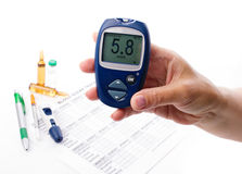 Glucometer in woman's hand Royalty Free Stock Photography
