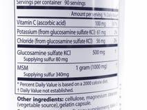 Glucosamine et écriture de labels de MSM Photos stock