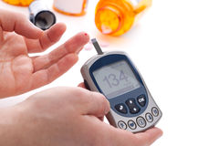 Glucose level blood test Stock Photography