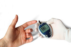 Glucose level blood test Stock Photo