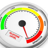 Glucose. Level to maximum conceptual meter, 3d rendering royalty free stock photos