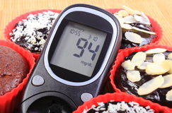 Glucose meter and chocolate muffins in red cups Royalty Free Stock Image