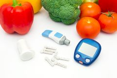 Glucose meter device with accessories. Royalty Free Stock Images