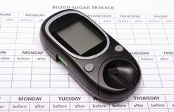 Glucose meter on empty medical forms for diabetes Royalty Free Stock Images