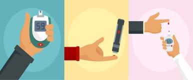 Glucose meter test banner concept set, flat style royalty free illustration