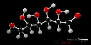 Glucose molecule, ball and stick model. Glucopyranose. Royalty Free Stock Photo