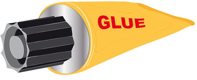 Glue. Vectors illustration shows a yellow tube of glue royalty free illustration