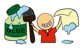 Glue it. A cartoon character holding a large brush with glue stock illustration