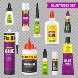Glue Tubes Set. Glue sticks bottles tubes with various types adhesives realistic images set on gray transparent background vector illustration vector illustration