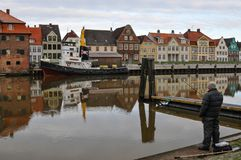Glueckstadt germnay, Old historic harbor with old vessels Stock Images