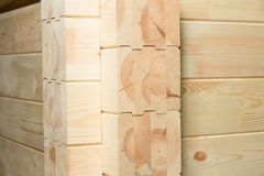 Glued pine timber construction Stock Images