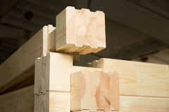 Glued timber beams connection Stock Photos