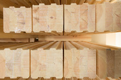Glued timber beams Royalty Free Stock Photos