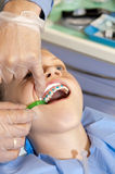Gluing. Young girl at orthodontist. Preparation to gluing the orthodontic brackets Stock Images