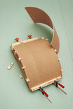 Gluing the workpiece of hardboard using  patterns Royalty Free Stock Photography