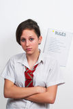 Glum teenage schoolgirl 8 stock image