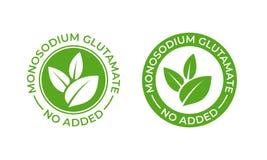 Glutamaat geen toegevoegd pictogram van het voedselpakket Bevat geen monosodium het glutamaat vectorverbinding van MSG vector illustratie