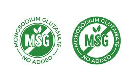 Glutamaat geen toegevoegd vectorpictogram Bevat geen van het het glutamaatvoedsel van MSG monosodium het pakketverbinding vector illustratie