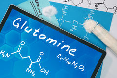 Glutamine. Tablet with the chemical formula of  Glutamine . Amino acids Royalty Free Stock Image