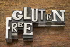 Glutenów bezpłatni słowa w metalu typ Zdjęcie Stock