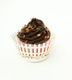 Gluten bezpłatna czekoladowa babeczka z brązem kropi i opakowanie Zdjęcie Royalty Free