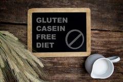 Gluten Casein free diet. Inscription Gluten Casein free diet royalty free stock images