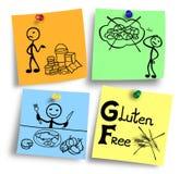 Gluten diety pojęcia bezpłatna ilustracja na kolorowe notatki Zdjęcie Royalty Free
