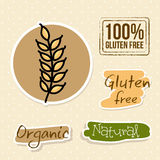 Gluten free. Labels over dotted background  illustration Stock Photos