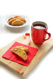 Gluten free almond biscotti with tea Royalty Free Stock Photos