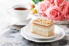 Gluten free almond and buttercream cake. Selective focus stock photo