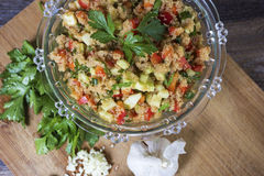 Gluten free amaranth salad. Amaranth salad with cucumbers and peppers Stock Photos