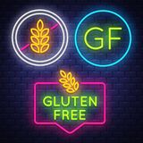 Gluten Free badge collection . Allergy sign. Neon sign vector illustration