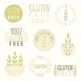 Gluten free badges. Vector hand drawn illustration Royalty Free Stock Photo