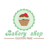 Gluten free bakery shop logo. Cute cupcake on striped background, retro style badge. Stock Images