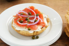 Gluten free biscuit with lox and cream cheese Stock Photography