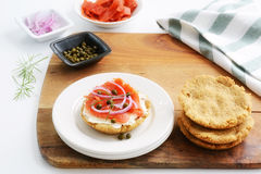 Gluten free biscuits with lox and cream cheese Stock Photos