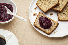 Gluten free bread breakfast Stock Photography