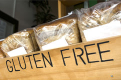Gluten Free Bread. Gluten Free loaf of breads on display in a health food shop that sells Gluten Free food Stock Photography