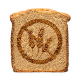 Gluten Free Bread. Bread slice marked with gluten free stamp isolated Royalty Free Stock Photography